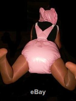 Y18 Adult Baby Sissy stuffed PVC Spreading diaper Spreizhose &cap S-XL