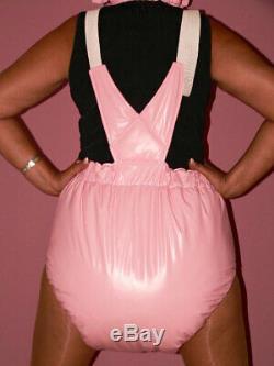 Y34 Adult Baby Sissy stuffed PVC Spreading diaper Spreizhose &cap S-XL