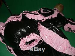 Z14Adult Baby Sissy pvc dress with sewn in diaper pantykleid & Spreizhose