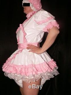 Z15Adult Baby Sissy pvc dress with sewn in diaper pantykleid & Spreizhose