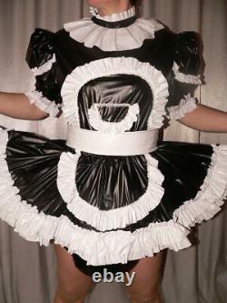 Z17Adult Baby Sissy pvc dress with sewn in diaper pantykleid & Spreizhose