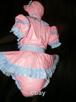 Z34Adult Baby Sissy pvc dress with sewn in diaper pantykleid & Spreizhose