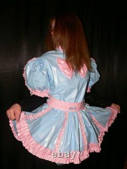 Z35Adult Baby Sissy pvc dress with sewn in diaper pantykleid & Spreizhose
