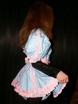 Z38Adult Baby Sissy pvc dress with sewn in diaper pantykleid & Spreizhose