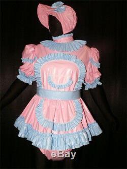 Z54Adult Baby Sissy pvc dress with sewn in diaper pantykleid & Spreizhose