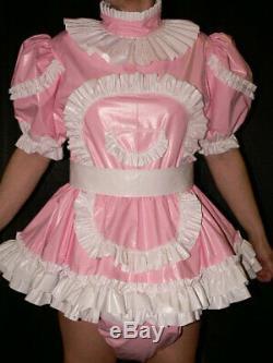 Z59Adult Baby Sissy pvc dress with sewn in diaper pantykleid & Spreizhose