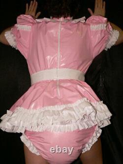 Z7Adult Baby Sissy pvc dress with sewn in diaper pantykleid & Spreizhose