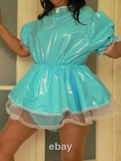 Z9Adult Baby Sissy pvc dress with sewn in diaper pantykleid & Spreizhose