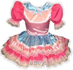 Zanna Custom Fit PINK & BLUE SATIN Adult LG Baby Sissy Dress LEANNE