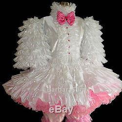 #d01 Bbt Adult Sissy Ruffles Taffeta Baby Prissy Dress Set 2pcs